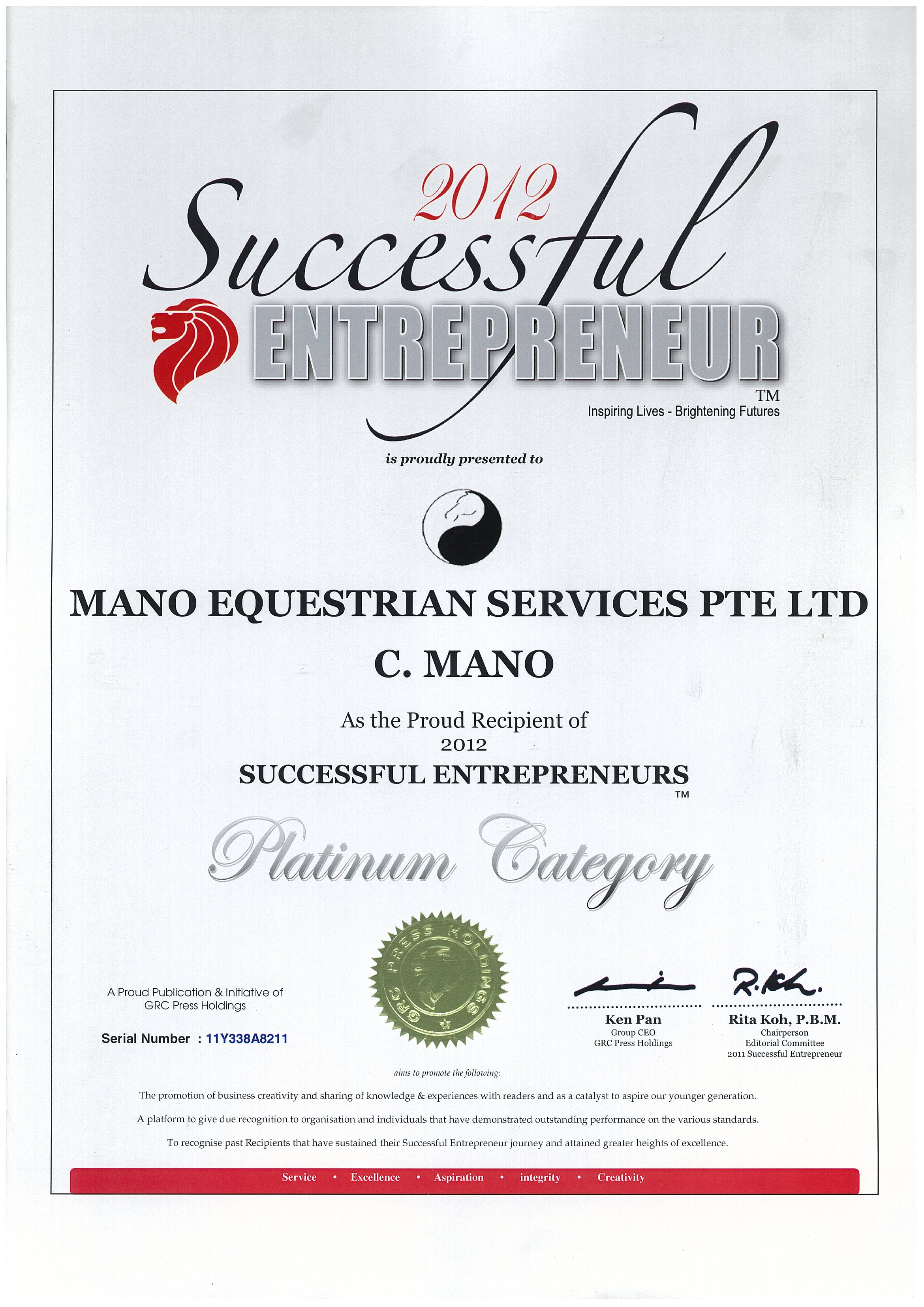 2012 SUCCESSFUL ENTREPRENEUR